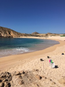 Santa Maria Beach and Bay (Playa Santa Maria y Bahia Santa Maria) along the Tourist Corridor of Cabo San Lucas, taken on March 18 2016.