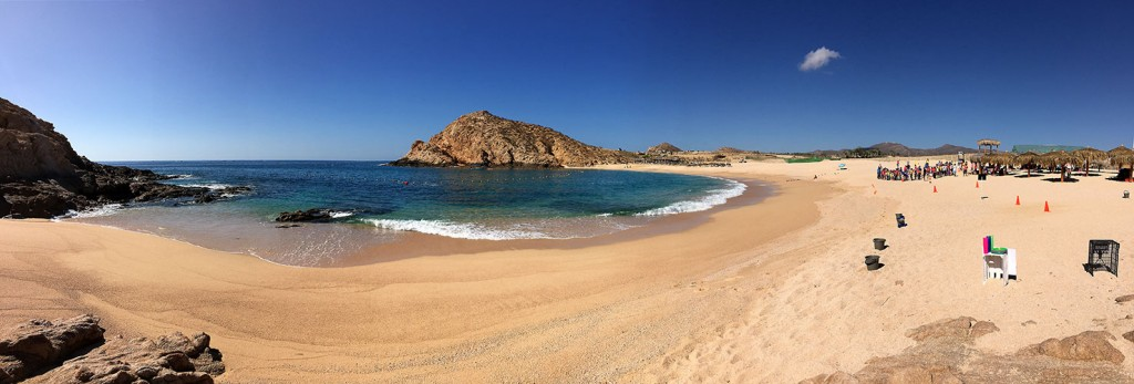 Panoramic view of Santa Maria Beach and Bay (Playa Santa Maria y Bahia Santa Maria) along the Tourist Corridor of Cabo San Lucas.