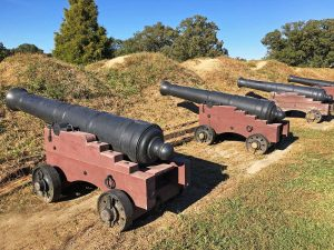 Siege Cannons positioned at Yorktown Battlefield park in Historic Yorktown, Virginia.