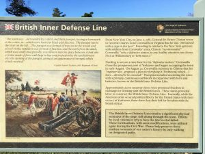 Signage at Yorktown Battlefield park in Yorktown, Virginia