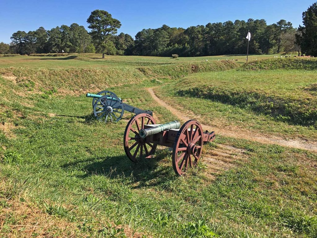 Yorktown Battlefield park in Yorktown, Virginia