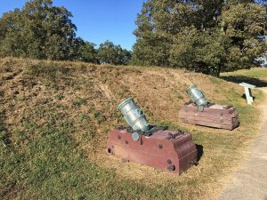 Artillery pieces displayed at Yorktown Battlefield park in Yorktown, Virginia