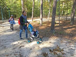 Family walking through Waller Mill Park, Williamsburg, Virginia